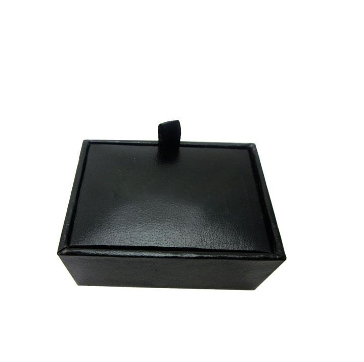 黑色袖扣展示盒子 仿皮袖扣包装盒