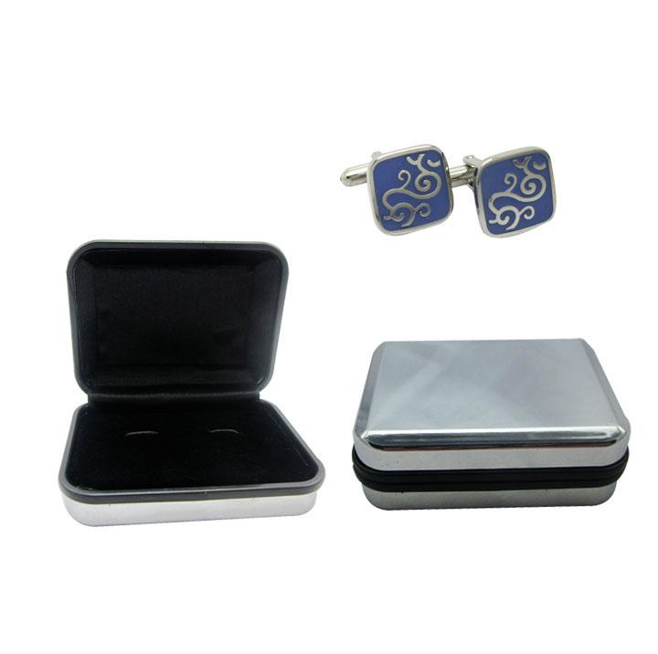 银色电镀袖扣包装盒 商务袖扣展示盒