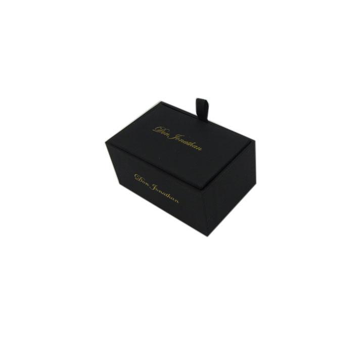 黑色长方形袖扣盒定制 饰品礼盒