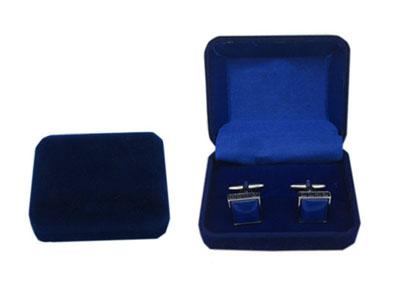 蓝色绒面袖扣包装盒 高档袖扣盒子